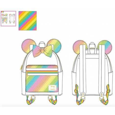 Loungefly Disney Sequin Rainbow Minnie Mini Backpack (WDBK1659)