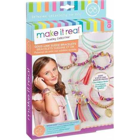 Make it Real - Gold Link Suede Bracelets (1207)