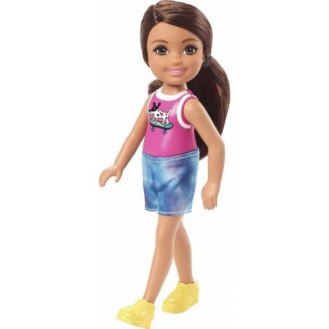 Mattel Barbie Club Chelsea Mini Girl Doll - Sparkly Skirt Brown Hair Doll (GXT40)