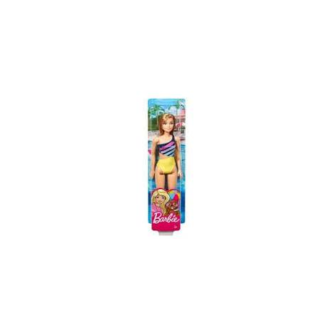 Mattel Barbie Doll Beach - Blonde Doll with Yellow and Blue Swimsuit (DHW41)