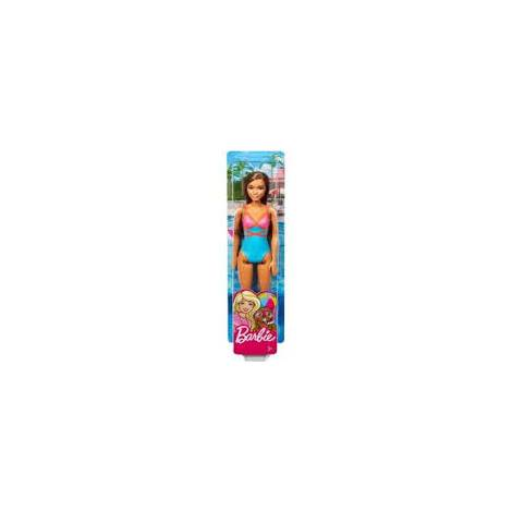 Mattel Barbie Doll Beach - Brown Hair Doll with Pink and Blue Swimsuit (DHW40)