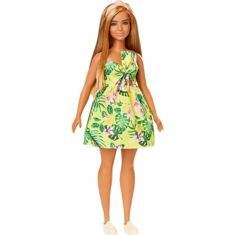Mattel Barbie Doll - Fashionistas #126 - Curvy Yellow Floral Dress Brown Hair Doll (FXL59)