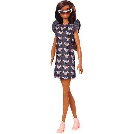 Mattel Barbie Doll - Fashionistas #140 - Long Brunette Hair Wearing Mouse-Print Dress, Pink Booties & Sunglasses Doll (GYB01)