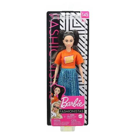 Mattel Barbie Doll - Fashionistas #145 - Short Doll with Long Brunette Pigtails & Shimmery Skirt (GHW59)