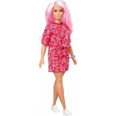 Mattel Barbie Doll - Fashionistas #151 - Pink Hair Curvy Doll With Dress And Red Paisley Top (GHW65)