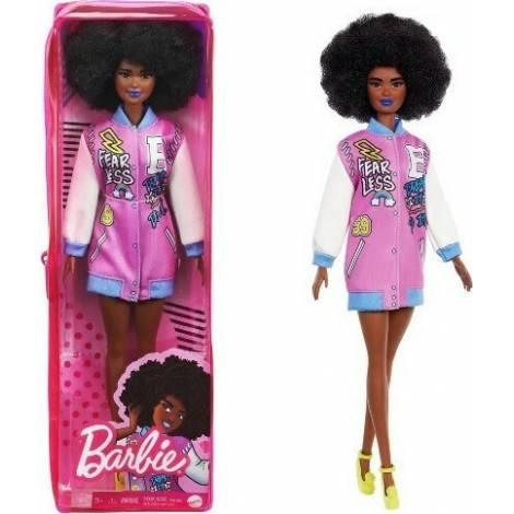 Mattel Barbie Doll - Fashionistas #156 - Curly Brunette Hair Black Skin Doll with Letterman Jacket (GRB48)
