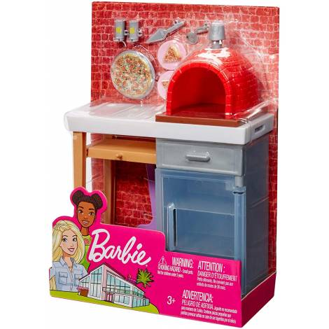 Mattel Barbie Furniture And Accessories - Black Pizza Oven Playset (FXG39)