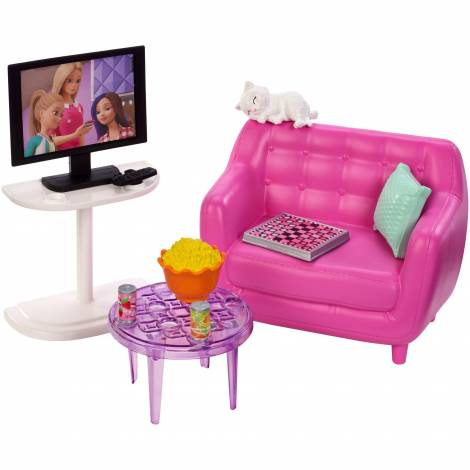 Mattel Barbie Furniture And Accessories - Bubble Chair TV & Kitten Playset (FXG36)