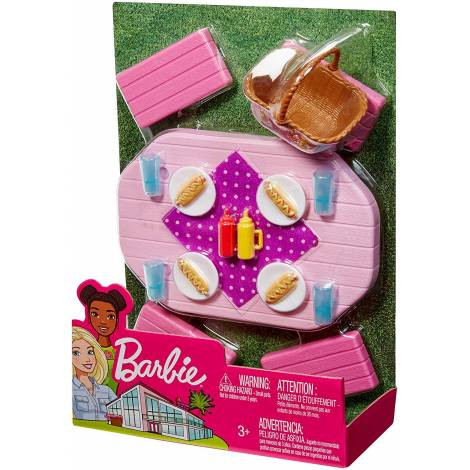 Mattel Barbie Furniture And Accessories - Picnic Table Playset (FXG40)