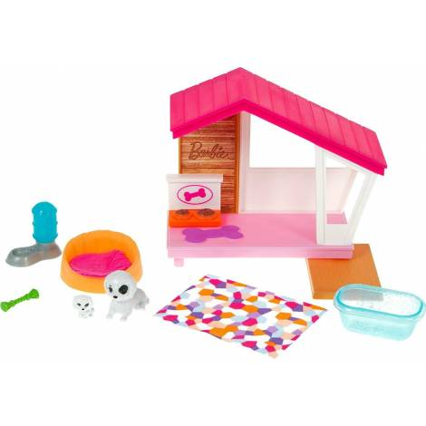Mattel Barbie: Mini Playset With 2 Pet Puppies, Doghouse And Pet Accessories (GRG78)