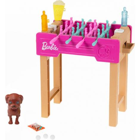Mattel Barbie: Mini Playset With Pet, Accessories And Working Foosball Table, Game Night Theme (GRG77)