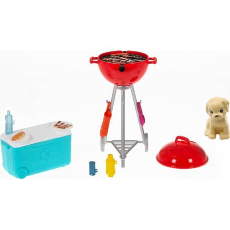 Mattel Barbie: Mini Playset With Themed Accessories And Pet, BBQ Theme With Scented Grill (GRG76)