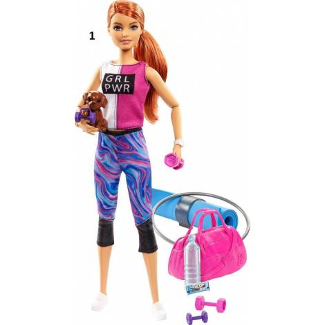 Mattel Barbie - Wellness  Fitness Doll with Puppy and Accessories (GJG57)