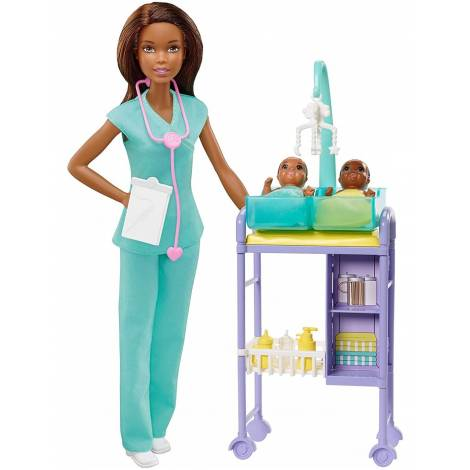 Mattel Barbie You Can be Anything - Dark Skin Doll Baby Doctor with Twins Babies (GKH24)