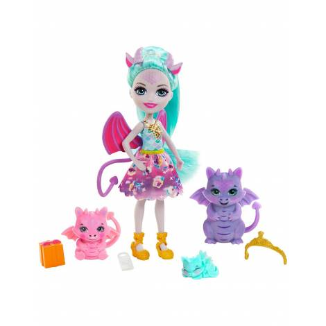 Mattel Enchantimals Royals: Guest Doll With Gifts With Family Of Dragons (GYJ09)