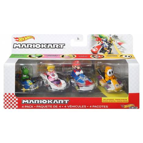 Mattel Hot Wheels: Mario Kart 4 Pack Vehicles (GWB38)