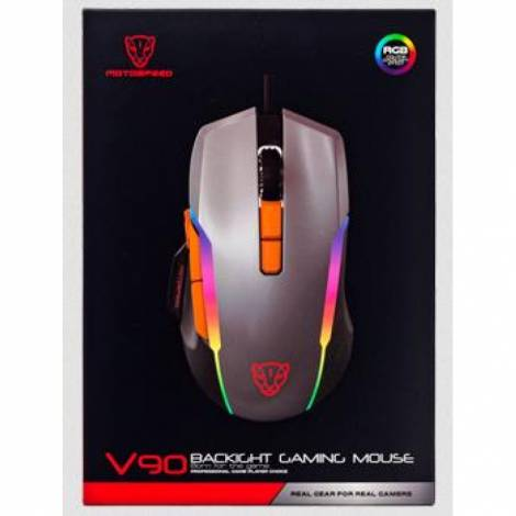 MOTOSPEED V90 GAMING MOUSE ME LED, ΓΚΡΙ