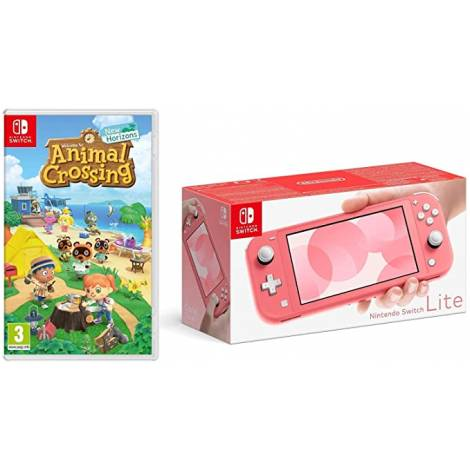 Nintendo Switch Lite Console Coral & Animal Crossing & 3M NSo (NINTENDO SWITCH)