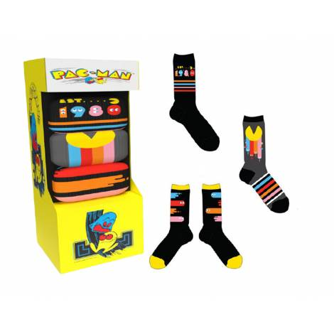 Official Pac-Man 40th Anniversary Socks (3 Pack) Arcade Box size (39-46)