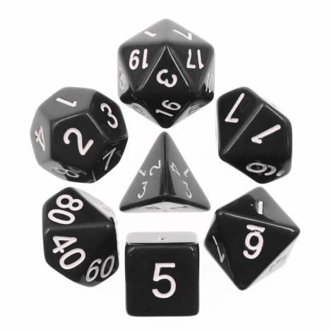 Chessex Opaque Black/White 7-Die Set  (CHX25408)