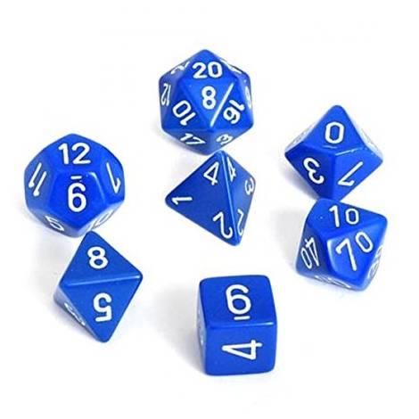 Chessex Opaque Blue/White 7-Die Set  (CHX25406)