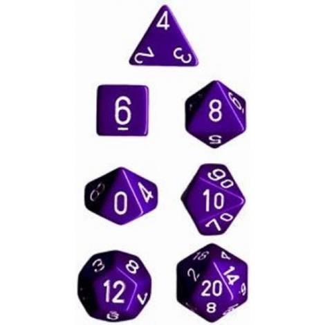 Chessex Opaque Purple/White 7-Die Set  (CHX25407)