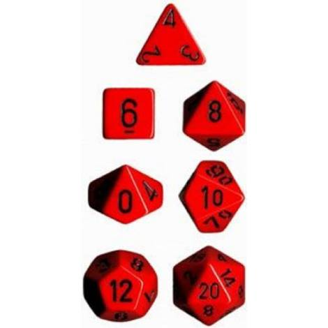 Chessex Opaque Red/Black 7-Die Set  (CHX25414)
