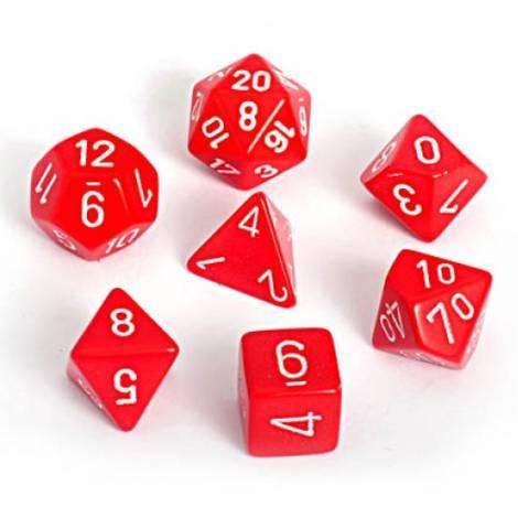 Chessex Opaque Red/White 7-Die Set  (CHX25404)