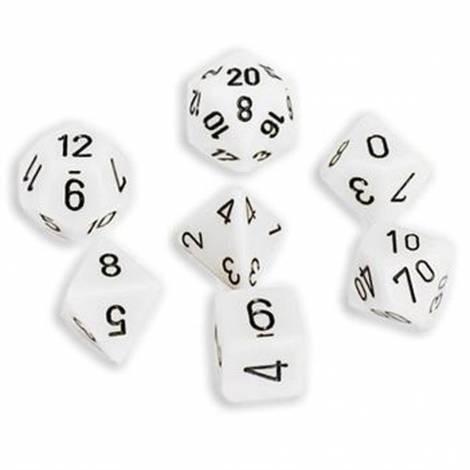 Chessex Opaque White/Black 7-Die Set  (CHX25401)