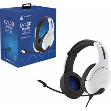 PDP LVL50 PS4/PS5 - Ενσύρματα Gaming Ακουστικά - Άσπρο (051-099-EU-WH)