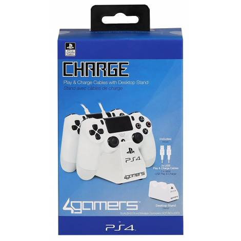 4Gamers Playstation 4 Officially Licensed Dual Controller Stand with Twin USB Charging Cables white (PS4)