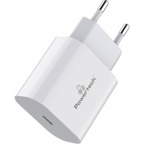 Powertech 1x USB-C Wall Adapter Λευκό (PT-923)
