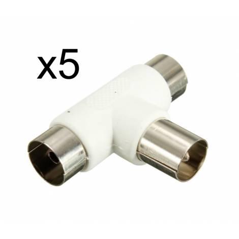 POWERTECH Adapter για κεραία male σε 2x female, 5τμχ (CAB-V009)
