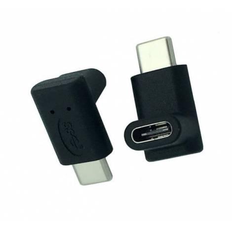 POWERTECH Adapter USB Type-C male σε USB Type-C female 90°, μαύρο (CAB-U100)