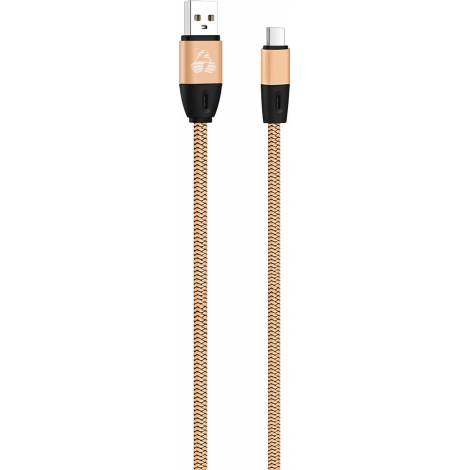 Powertech Braided USB 2.0 Cable USB-C male - USB-A male Χρυσό 1m (PTR-0037)