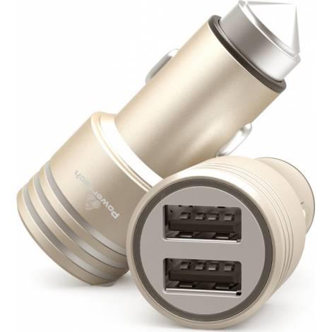POWERTECH Φορτιστής Αυτοκινήτου , 2x USB, 2.1A - χρυσό (PT-758)