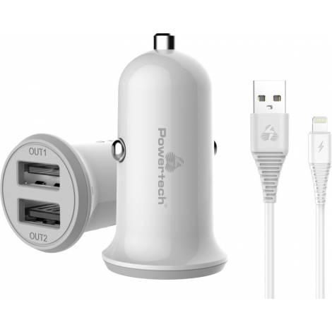 POWERTECH Φορτιστής αυτοκινήτου & καλώδιο Lightning , 2x USB, 3.4A - Λευκό (PT-774)