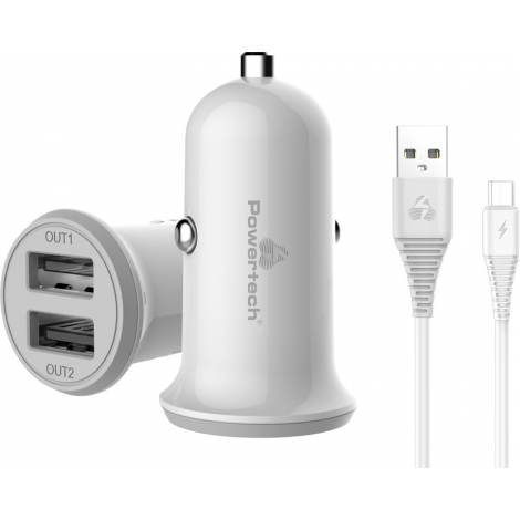 POWERTECH Φορτιστής αυτοκινήτου & καλώδιο Micro USB, 2x USB, 3.4A - Λευκό (PT-772)
