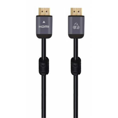 Powertech Καλώδιο HDMI 2.0 CAB-H095 prime, 4k 3D, Copper, Μαύρο, 1m (CAB-H095)