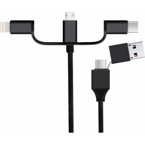Powertech Καλώδιο USB 2.0 & Type-C σε USB Type-C/Micro/8pin CAB-U118, 1m (CAB-U118)