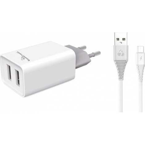 Powertech micro USB Cable & 2x USB Wall Adapter Λευκό (PT-775)