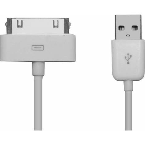 Powertech Regular USB to 30-Pin Cable Λευκό 1m (CAB-U024)