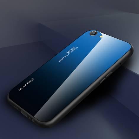POWERTECH Θήκη Aurora Glass MOB-1498 για iPhone SE 2020, μαύρη-μπλε