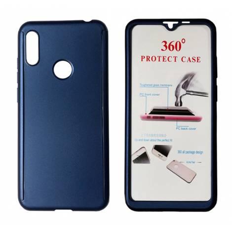 POWERTECH Θήκη Body 360° με Tempered Glass για Huawei Y6/Pro 2019, μπλε MOB-1414