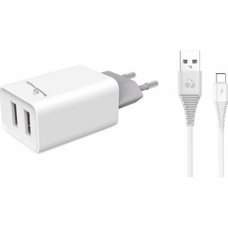Powertech USB-C Cable & 2x USB Wall Adapter Λευκό (PT-776)