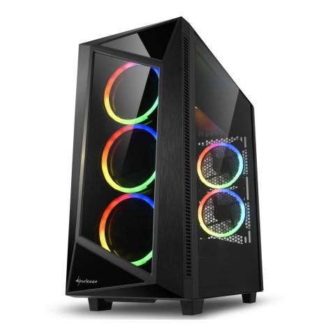SHARKOON PC CHASSIS REV200, MIDI TOWER ATX, BLACK, W/O PSU, 3x12CM FRONT FAN, 2x12CM REAR RGB FAN, 2YW.