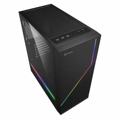 SHARKOON PC CHASSIS RGB FLOW, MIDI TOWER ATX, BLACK, W/O PSU, 1x12CM FRONT FAN, RGB LED, 2YW.
