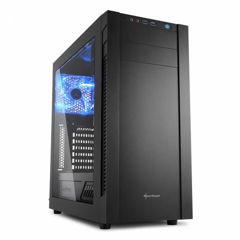 SHARKOON PC CHASSIS S25-W, MIDI TOWER ATX, BLACK, W/O PSU, 2x12CM FRONT FAN, 1x12CM REAR FAN, 2YW.