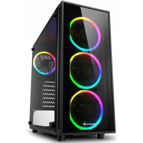 SHARKOON PC CHASSIS TG4 RGB, MIDI TOWER ATX, BLACK, W/O PSU, 3x12CM FRONT RGB LED FAN, 1x12CM REAR RGB LED FAN, 2YW.