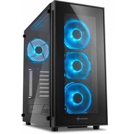SHARKOON PC CHASSIS TG5 BLUE, MIDI TOWER ATX, BLACK, W/O PSU, 3x12CM FRONT BLUE LED FAN, 1x12CM REAR BLUE LED FAN, 2YW.